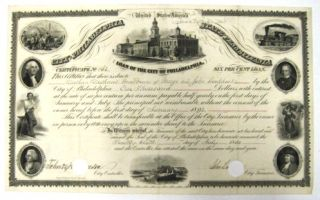 LOAN OF THE CITY OF PHILADELPHIA| CERTIFICATE NO. 162.| SIX PER CENT LOAN.| THIS CERTIFIES THAT THERE IS DUE TO NATHAN NATHANS, GUARDIAN OF GEORGE AND JOHN LOCKHART BY THE CITY OF PHILADELPHIA, ONE THOUSAND DOLLARS, WITH INTEREST, AT THE RATE OF SIX PER CENTUM PER ANNUM, PAYABLE HALF YEARLY, ON THE FIRST DAYS OF JANUARY AND JULY. THE PRINCIPAL NOT REIMBURSABLE, WITHOUT THE CONSENT OF THE OWNER HEREOF, BEFORE THE FIRST DAY OF JANUARY, 1892... IN WITNESS WHEREOF, THE TREASURER OF THE SAID CITY HAS HEREUNTO SET HIS HAND, AND CAUSED THE SEAL OF THE CITY OF PHILADELPHIA TO BE HEREUNTO ANNEXED, THE TWENTY-SIXTH DAY OF JULY 1854, AND THE CONTROLLER HAS ATTESTED THE SAME ON THE SAME DAY AND YEAR. Philadelphia Judaica.