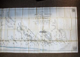 MAP AND PROFILE OF THE ROUTE FOR THE CONSTRUCTION OF A SHIP CANAL FROM THE ATLANTIC TO THE PACIFIC OCEANS, ACROSS THE ISTHMUS IN THE STATE OF NICARAGUA, CENTRAL AMERICA, SURVEYED FOR THE AMERICAN ATLANTIC AND PACIFIC SHIP CANAL COMPANY. BY. O.W. CHILDS. 1850-51.