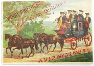 WOOD BROTHERS, COACH BUILDERS. 49, 51 & 53 LAFAYETTE PLACE, N.Y. Wood Brothers