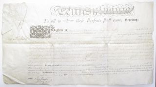 PARTIALLY PRINTED PENNSYLVANIA LAND PATENT, COMPLETED IN MANUSCRIPT, FOR A TRACT OF LAND CALLED 'HARTFORD' IN NORTHUMBERLAND COUNTY, CONVEYED BY THE COMMONWEALTH TO DAVID WILLIAMSON. THE COMMONWEALTH HAD PREVIOUSLY CONVEYED THE TRACT TO BENJAMIN HARVEY, WHO BY DEED OF 1791 THEN CONVEYED THE TRACT TO WILLIAMSON. SIGNED BY GOVERNOR THOMAS MIFFLIN, AND BY JAMES TRIMBLE AS DEPUTY SECRETARY, NOVEMBER 26, 1795. Thomas Mifflin.