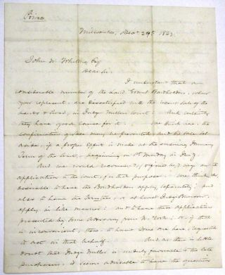 AUTOGRAPH LETTER SIGNED AND MARKED 'PRIVATE', FROM MILWAUKEE, DEC. 29, 1862, TO JOHN W. WHITING,...