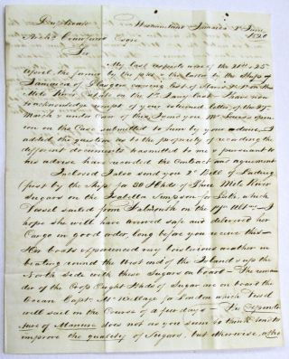AUTOGRAPH LETTER SIGNED FROM WESTMORELAND, JAMAICA, JUNE 2, 1820, TO HIS SOLICITOR, ARCHIBALD...