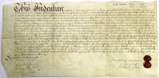 WARRANTY DEED ON PARCHMENT, DATED 22 NOVEMBER 1731, TRANSFERRING REAL ESTATE ON THE WEST SIDE OF...