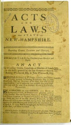 ACTS AND LAWS OF THE STATE OF NEW-HAMPSHIRE. New Hampshire.