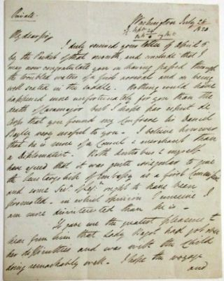 "AUTOGRAPH LETTER SIGNED, FROM WASHINGTON, D.C., 28 JULY 28 1820, MARKED ""PRIVATE"", TO SIR CHARLES..."