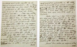 """AUTOGRAPH LETTER SIGNED, FROM WASHINGTON, D.C., 28 JULY 28 1820, MARKED """"PRIVATE"""", TO SIR CHARLES BAGOT, G.C.B., FORMER BRITISH AMBASSADOR TO THE UNITED STATES, DISCUSSING THE AMERICAN DIPLOMATIC AND POLITICAL SCENE, RESHUFFLING OF THE BRITISH LEGATION, ADAMS-ONIS TREATY, AND-- BRIEFLY-- THE YELLOW FEVER OUTBREAK IN CONNECTICUT. """"... WE DO NOT EXPECT STRATFORD CANNING UNTIL TOWARDS THE BEGINNING OF OCTOBER IN TIME TO MAKE HIS PREPARATIONS FOR THE WINTER CAMPAIGN. MY STAFF REMAINS MUCH IN STATUS QUO EXCEPTING THAT BUCHANAN AND ROBERTSON HAVE AS YOU KNOW GONE HOME ON A SHORT LEAVE OF ABSENCE. THE FORMER, I HOPE AND TRUST, WILL NEVER RETURN … BUCHANAN'S SON [QUITE A YOUTH] HAS THE TEMPORARY CHARGE OF HIS CONSULATE BY LORD CASTLEREAGH'S EXPRESS DESIRE, AND CRAWFORD ACTS AT PHILADELPHIA… I NOW VERY SELDOM HEAR FROM MANNERS, THE POSTAGE I PRESUME HAVING SILENCED HIM, AS SOME BOSTON GENTLEMEN WHO CAME HERE EXPECTING THE LOAN TOLD ME, WHAT, AT ALL EVENTS, I HOPE IS AN EXAGGERATION, THAT HIS ONLY MEANS OF SUBSISTENCE WERE FISH WHICH IS OBTAINED FOR LITTLE OR NOTHING, AND POTATOES WHICH HE RAISED HIMSELF. THIS OUGHT NOT TO BE ALLOWED AT A PLACE LIKE BOSTON. DICTATORS MAY DIG BUT NOT CONSULS. """"MR. DIGGES [APROPOS OF DIGGING] HAS TOLD ME MANY PARTICULARS ABOUT THE SLAVES UNDER OUR GHENT TREATY WHICH QUESTION YOU WILL PROBABLY HAVE TO SETTLE, BUT YOU WILL NO DOUBT FIND ALL HIS INFORMATION IN THE LETTER WHICH HE FORWARDED YOU… IN RELATION TO THE THREATENING TARIFF QUESTION… I WILL BE CURIOUS IF THE AMERICANS COMMENCE A SYSTEM OF RESTRICTION AND BOUNTIES AT THE TIME WE BEGIN TO ABOLISH THEM AND TO REMOVE THE IMPEDIMENTS TO FREE TRADE… BALDWIN IS THE GREAT CHAMPION OF THE NEW AM. SYSTEM. GENERAL VIVES… AND GALLATIN ARE DIRECTLY AT ISSUE WITH RESPECT TO A CONVERSATION WHICH TOOK PLACE AT PARIS AND WHICH GALLATIN REPORTED HOME. GALLATIN'S LETTER OUGHT NOT TO HAVE APPEARED. IT WAS I AM INFORMED SENT TO CONGRESS BY MISTAKE… IT IS SAID UNINTENTIONALLY, ALTHO SOME ULTRA WISE PEOPLE THINK"""