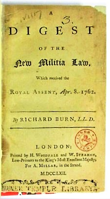 A DIGEST OF THE NEW MILITIA LAW, WHICH RECEIVED THE ROYAL ASSENT, APR. 8. 1762.
