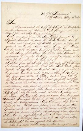 ELEGANTLY WRITTEN MANUSCRIPT LETTER, SIGNED, TO NEW YORK ATTORNEY FRANCIS H. UPTON, REGARDING JOUETT'S CAPTURE OF A REBEL BLOCKADE RUNNER AND HIS ENTITLEMENT TO PRIZE MONEY. Lieutenant Commander James E. Jouett.