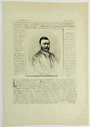 PHOTOLITHOGRAPHIC HALF LENGTH ETCHING OF GENERAL GRANT IN MILITARY DRESS SURROUNDED BY THREE...