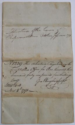 DEBENTURE OF THE HOUSE OF REPRESENTATIVES OCTOBER SESSION 1791. N2229 THIS DEBENTURE REGISTERED IN THE COMPTROLLERS OFFICE FOR ONE THOUSAND THREE HUNDRED FORTY ONE POUNDS FOUR SHILLINGS. J.A. KINGSBURY COMPTR. NOV. 8, 1791. Connecticut.