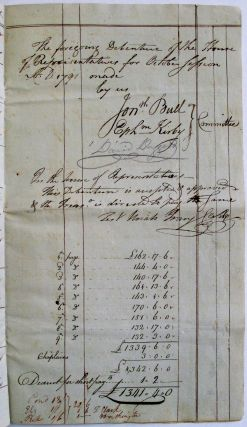 DEBENTURE OF THE HOUSE OF REPRESENTATIVES OCTOBER SESSION 1791. N2229 THIS DEBENTURE REGISTERED IN THE COMPTROLLERS OFFICE FOR ONE THOUSAND THREE HUNDRED FORTY ONE POUNDS FOUR SHILLINGS. J.A. KINGSBURY COMPTR. NOV. 8, 1791.