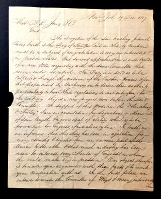 AUTOGRAPH LETTER SIGNED BY A COMMITTEE REPRESENTING NEW YORK CITY AUCTIONEERS, TO T.K. JONES &...