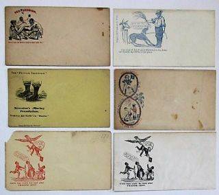 SIX UNUSED UNION POSTAL COVERS WITH CARICATURED IMAGES OF SLAVES;. Civil War - Slavery Postal Covers