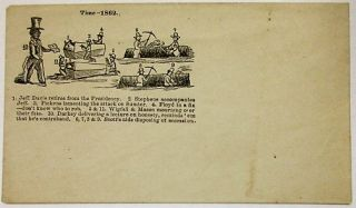 "RARE UNUSED UNION POSTAL COVER: ""TIME -- 1862./ 1. JEFF. DAVIS RETIRES FROM THE PRESIDENCY. 2...."