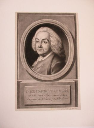 MEZZOTINT BUST PORTRAIT OF BENJAMIN FRANKLIN, DIRECTED LEFT, FACING FRONT, WEARING THICK CURLED...
