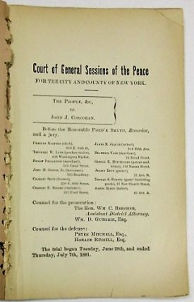 THE MURDER OF LEE TEEP. THE TRIAL AND ACQUITTAL OF JOHN J. CORCORAN, CHARGED WITH THE MURDER. SUMMING UP OF HORACE RUSSELL, FOR THE DEFENCE; WITH A PREFATORY NOTE GIVING THE SUBSTANCE OF THE TESTIMONY. [Caption title: COURT OF GENERAL SESSIONS OF THE PEACE FOR THE CITY AND COUNTY OF NEW YORK. THE PEOPLE & C., VS. JOHN J. CORCORAN.].