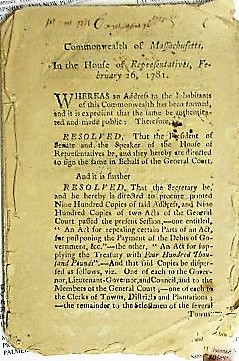 AN ADDRESS OF THE LEGISLATURE TO THE INHABITANTS OF THE COMMONWEALTH OF MASSACHUSETTS. Massachusetts