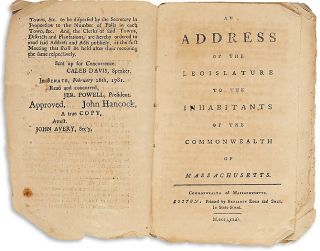 AN ADDRESS OF THE LEGISLATURE TO THE INHABITANTS OF THE COMMONWEALTH OF MASSACHUSETTS.
