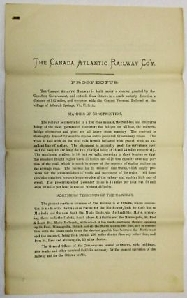 THE CANADA ATLANTIC RAILWAY COMPANY. INCORPORATED BY THE PARLIAMENT OF CANADA. CONTENTS. MAP OF...