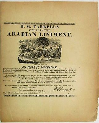 H.G. FARRELL'S CELEBRATED ARABIAN LINIMENT. A CERTAIN CURE FOR ALL KINDS OF RHEUMATISM. H. G....
