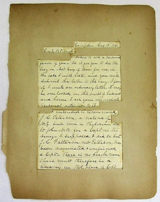 AUTOGRAPH LETTER SIGNED, ON PLAIN LINED PAPER, TO E.B. FRENCH, DATED AT HAMPDEN [MAINE], AUGUST...
