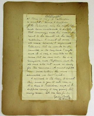 """AUTOGRAPH LETTER SIGNED, ON PLAIN LINED PAPER, TO E.B. FRENCH, DATED AT HAMPDEN [MAINE], AUGUST 19, 1861, ASKING FOR HELP IN SECURING A CAPTAIN'S COMMISSION FOR J.C. PETERSON: """"I DESIRE TO ASK A PERSONAL FAVOR OF YOU. IT IS FOR YOU TO SEE THE SECY OR AST SECY OF WAR, FOR ME, IN THE CASE I WILL STATE, AND YOU WILL SUBMIT THIS LETTER TO THE SECY. I FEAR IF I WRITE AN ORDINARY LETTER, IT MAY BE OVERLOOKED IN THE PRESS OF BUSINESS AND HENCE I ASK YOUR IMMEDIATE PERSONAL ATTENTION TO IT. """"I INTENDED TO RECOMMEND J.C. PETERSON, A NATIVE OF N.Y. BUT NOW A PHYSICIAN AT ST. JOHN N.B. FOR A CAPT IN THE ARMY. I SUPPOSED I DID SO, BUT J.C. PATTERSON - NOT PETERSON, HAS BEEN NOMINATED & CONFIRMED A CAPT. THERE IS NO SUCH MAN. THERE MUST THEREFORE BE A VACANCY IN THAT PLACE OF CAPT. AS THERE IS NO J.C. PATTERSON TO ACCEPT. HENCE I SUPPOSE J.C. PETERSON CAN BE APPOINTED AND COMMISSIONED TO SUPPLY THAT VACANCY, AND HIS NOMINATION SENT TO THE SENATE AT THE NEXT SESSION. I WANT IT DONE AT ONCE BECAUSE I INFORMED PETERSON THAT HE WOULD BE APPOINTED, AS THE SECY SAID I MIGHT AND IT IS ONLY A MISTAKE IN THE NAME THAT HE WAS NOT. HE IS A SURVEYOR AND PHYSICIAN AND HE AT ONCE SOLD OUT AND IS READY FOR THE SERVICE. A MOST CAPITAL MAN - NONE BETTER - HE WAS EDUCATED AT WEST POINT. """"I APPEAL TO THE SECY TO CORRECT THIS, AND TO YOU TO AID ME, AS IT IS DUE TO PETERSON, AND IS I SUPPOSE OWING TO MY GIVING THE WRONG NAME. LET ME HEAR FROM YOU. YOURS TRULY H. HAMLIN""""."""