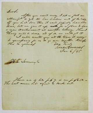 "AUTOGRAPH LETTER SIGNED, DATED JANUARY 6, 1845, TO H.E. LEMAR: ""DEAR SIR, AFTER YOU WENT AWAY, I PUT ON FIRST AN ATTEMPT TO GET THE LOW BIDDER OUT OF THE WAY. IF YOU HAD BEEN THERE IT COULD POSSIBLY HAVE BEEN DONE, BUT WE GAVE IT UP, FOR A PLAN TO HAVE A NEW ADVERTISEMENT, AND ANOTHER BIDDING. THIS I THINK WILL BE DONE; AND IF SO, WE WILL GET IT. ""I WILL WRITE YOU AT THE TIME IT MAY BE NECESSARY FOR US TO GO OVER TOGETHER. KEEP THIS TO YOURSELF./ VERY TRULY, SIMON CAMERON, JAN. 6/45. ""THERE ARE 4 BIDS FOR $7, & ONE FOR $6.50 - THE LAST MAN HAS AGREED TO BACK OUT. Simon Cameron."