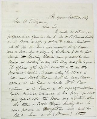 AUTOGRAPH LETTER SIGNED, BRIDGEPORT, SEPTEMBER 28, 1867, FROM P.T. BARNUM'S ATTORNEY AND FRIEND,...