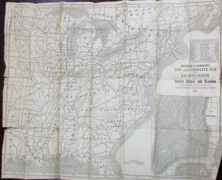 AMERICAN RAILWAY GUIDE, AND POCKET COMPANION, FOR THE UNITED STATES; CONTAINING CORRECT TABLES, FOR TIME OF STARTING FROM ALL STATIONS, DISTANCES, FARES, ETC. ON ALL THE RAILWAY LINES IN THE UNITED STATES; TOGETHER WITH A COMPLETE RAILWAY MAP. THE PRINCIPAL STEAMBOAT AND STAGE LINES RUNNING IN CONNECTION WITH RAILROADS... JULY, 1854. EDITED BY R.S. FISHER.