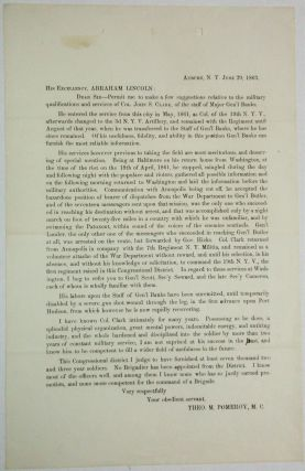 PRINTED LETTER FROM POMEROY TO ABRAHAM LINCOLN, JUNE 29, 1863, RECOMMENDING THAT COLONEL JOHN S....