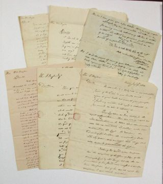 LOT OF SIX LETTERS FROM ABRAHAM HOLMES TO WILLIAM BAYLIES AND FRANCIS BAYLIES, JANUARY 19, 1822 -...