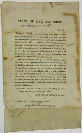 STATE OF NEW-HAMPSHIRE. TO THE SELECTMEN OF [Acworth]. GREETING. THE HONORABLE WILLIAM GORDON...