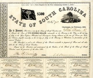 LOAN UNDER 'ACT TO RAISE SUPPLIES FOR THE YEAR COMMENCING OCTOBER 1, 1860.' $500. STATE OF SOUTH...