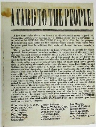 A CARD TO THE PEOPLE. Soldiers' Convention