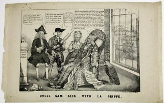 UNCLE SAM SICK WITH LA GRIPPE. Andrew Jackson, H. R. Robinson