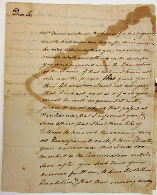 "AUTOGRAPH LETTER SIGNED TO JAMES KEITH OF FREDERICK COUNTY, VIRGINIA, DECEMBER 29, 1769: ""MR...."