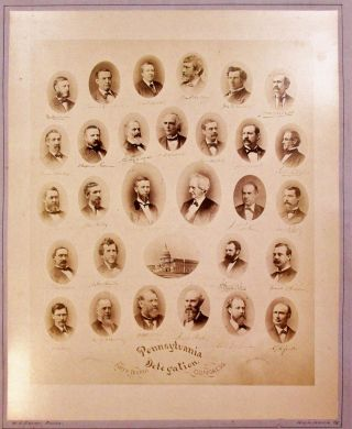 ALBUMEN PRINT OF THE PENNSYLVANIA DELEGATION OF THE FORTY-FOURTH CONGRESS. TWENTY-NINE OVAL,...