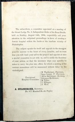 THE SUBSCRIBERS, A COMMITTEE APPOINTED AT A MEETING OF THE GRAND LODGE NO. 3, INDEPENDENT ORDER...