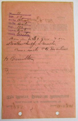 APPLICATION FOR MEMBERSHIP IN THE MINERS' PROTECTIVE ASSOCIATION, DATED AT CRIPPLE CREEK, COLORADO, JUNE 30, 1915, COMPLETED BY ERNEST GEORGE AHL, AGE 19.