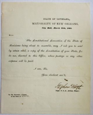 STATE OF LOUISIANA, MAYORALTY OF NEW ORLEANS, CITY HALL, MARCH 28TH, 1864. New Orleans, Stephen Hoyt