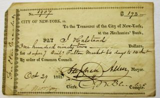 PRINTED DOCUMENT SIGNED, AS MAYOR OF THE CITY OF NEW YORK, AUTHORIZING PAYMENT TO J. HALSTEAD FOR...