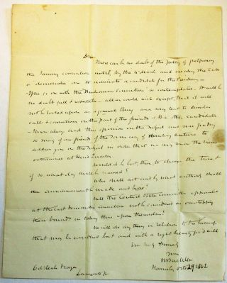 AUTOGRAPH LETTER SIGNED, FROM COLONEL HENRY BUEHLER, HARRISBURG, 29 OCTOBER 1842, TO REAH FRAZER...