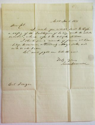 AUTOGRAPH LETTER SIGNED, DATED JAN. 6, 1852, TO COLONEL REAH FRAZER, LANCASTER, PENNSYLVANIA: ...