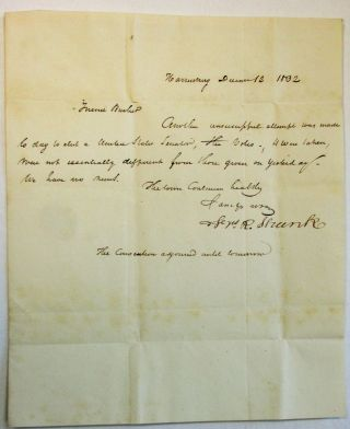AUTOGRAPH LETTER SIGNED, DATED AT HARRISBURG, PA., DECEMBER 12, 1832, TO JOHN BUCHER, MEMBER OF...