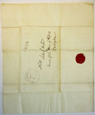 """AUTOGRAPH LETTER SIGNED, DATED AT HARRISBURG, PA., DECEMBER 12, 1832, TO JOHN BUCHER, MEMBER OF THE HOUSE OF REPRESENTATIVES, WASHINGTON, D.C.: """"FRIEND BUCHER, ANOTHER UNSUCCESSFUL ATTEMPT WAS MADE TODAY TO ELECT A UNITED STATES SENATOR. THE VOTES - 4 WERE TAKEN, WERE NOT ESSENTIALLY DIFFERENT FROM THOSE GIVEN ON YESTERDAY. WE HAVE NO NEWS./ . . . [signed] FRS. R. SHUNK/ THE CONVENTION ADJOURNED UNTIL TOMORROW."""""""