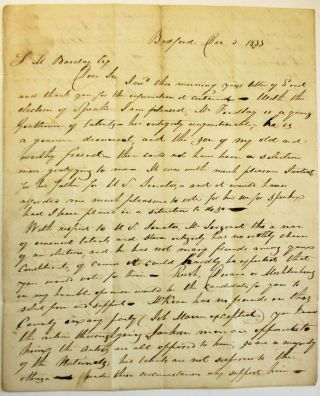 AUTOGRAPH LETTER SIGNED FROM BEDFORD, PA., 5 DECEMBER 1833, TO SAMUEL M. BARCLAY, HARRISBURG,...