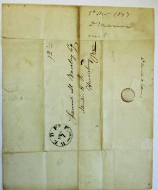 """AUTOGRAPH LETTER SIGNED FROM BEDFORD, PA., 5 DECEMBER 1833, TO SAMUEL M. BARCLAY, HARRISBURG, DISCUSSING HIS OPPOSITION TO SAMUEL MCKEAN, CANDIDATE FOR THE U.S. SENATE SEAT VACATED BY GEORGE DALLAS: """"DEAR SIR, I REC'D THIS MORNING YOUR LETTER OF SAME AND THANK YOU FOR THE INFORMATION IT CONTAINED. WITH THE ELECTION OF SPEAKER I AM PLEASED, MR. FINDLAY IS A YOUNG GENTLEMAN OF TALENTS - HIS INTEGRITY UNQUESTIONABLE, HE IS A GENUINE DEMOCRAT, AND THE SON OF MY OLD AND WORTHY FRIEND - THERE COULD NOT HAVE BEEN A SELECTION MORE GRATIFYING TO ME. IT WAS WITH GREAT PLEASURE I VOTED FOR HIS FATHER FOR U.S. SENATOR, AND IT WOULD HAVE AFFORDED ME MUCH PLEASURE TO VOTE FOR HIS SON FOR SPEAKER HAD I BEEN PLACED IN A SITUATION TO DO SO. """"WITH RESPECT TO U.S. SENATOR, MR. SERGEANT THO A MAN OF EMINENT TALENTS AND STERN INTEGRITY HAS NO EARTHLY CHANCE OF AN ELECTION, AND HE HAS NOT MANY FRIENDS AMONG YOUR CONSTITUENTS, OF COURSE IT COULD HARDLY BE EXPECTED THAT YOU WOULD VOTE FOR HIM. RUSH, DUANE OR MUHLENBERG IN MY HUMBLE OPINION WOULD BE THE CANDIDATES FOR YOU TO SELECT FROM AND SUPPORT. MCKEAN HAS NO FRIENDS IN THIS COUNTY IN ANY PARTY (JOB MANN EXCEPTED) YOU KNOW THE ACTIVE THOROUGHGOING JACKSON MEN ARE OPPOSED TO HIM ... SO ARE A MAJORITY OF THE NATIONALS, HIS TALENTS ARE NOT SUPERIOR TO THE OTHERS - UNDER THESE CIRCUMSTANCES WHY SUPPORT HIM - IF YOU WISH TO REPRESENT YOUR CONSTITUENTS, YOU WILL NOT VOTE FOR HIM; AND IF YOU WANT TO BENEFIT YOUR NATIVE STATE I PRESUME YOU WOULD NOT SELECT SAML MCKEAN AS THE PROPER PERSON. I HAVE THUS FREELY GIVEN YOU MY REASONS, TAKE THEM FOR WHAT THEY ARE WORTH. HAD YOU NOT REQUESTED MY OPINION I WOULD NOT HAVE GIVEN IT. . . [signed] D. MANN."""""""