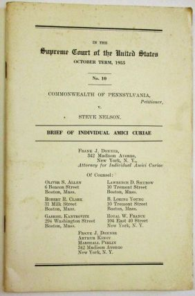 IN THE SUPREME COURT OF THE UNITED STATES OCTOBER TERM, 1955. NO. 10. COMMONWEALTH OF...