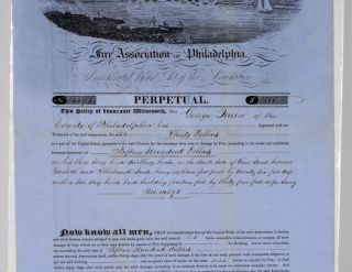 ORNATE CERTIFICATE OF POLICY OF INSURANCE: BY THE TRUSTEES OF THE FIRE ASSOCIATION OF PHILADELPHIA. INCORPORATED BY AN ACT OF THE LEGISLATURE. NO. 14595. PERPETUAL. $1500. THIS POLICY OF INSURANCE WITNESSETH, THAT GEORGE QUEIN OF THE COUNTY OF PHILADELPHIA HAS DEPOSITED WITH THE TREASURER OF THE SAID ASSOCIATION, THE SUM OF THIRTY DOLLARS AS A PART OF ITS CAPITAL STOCK, AGREEABLY TO THE SAID CHARTER, FOR THE INSURANCE FROM LOSS OR DAMAGE BY FIRE, (ACCORDING TO THE TERMS AND CONDITIONS HEREUNTO ANNEXED,) OF FIFTEEN HUNDRED DOLLARS ON HIS THREE STORY BRICK DWELLING HOUSE ON THE SOUTH SIDE OF VINE STREET, BETWEEN TWELFTH AND THIRTEENTH STREETS, BEING EIGHTEEN FEE FRONT BY TWENTY SIX FEET DEEP WITH A TWO STORY BRICK BACK BUILDING, FOURTEEN FEET, BY THIRTY FIVE FEET, AS PER SURVEY . . . IN WITNESS WHEREOF, THE COMMON SEAL OF THE SAID CORPORATION IS HEREUNTO AFFIXED, THIS TWENTY FIRST DAY OF NOVEMBER ANNO DOMINI ONE THOUSAND EIGHT HUNDRED AND FORTY NINE. [signed] GEORGE TRYON, PRESIDENT. ATTEST, WILLIAM T. BUTLER SECRETARY.
