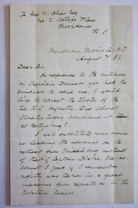 AUTOGRAPH LETTER SIGNED, 7 AUGUST 1882, TO GEORGE BLISS, REGARDING THE BATTLE OF GETTYSBURG....